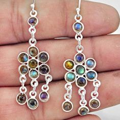 8.68cts natural blue labradorite 925 sterling silver chandelier earrings r45060