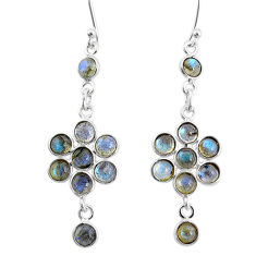 9.74cts natural blue labradorite 925 sterling silver chandelier earrings t4660