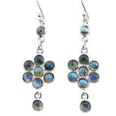 7.11cts natural blue labradorite 925 sterling silver chandelier earrings t4757