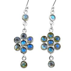 6.25cts natural blue labradorite 925 sterling silver chandelier earrings t4758