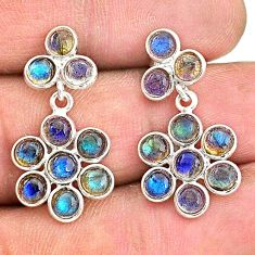 7.17cts natural blue labradorite 925 sterling silver chandelier earrings t4796