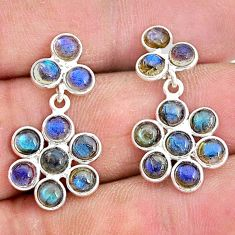 7.17cts natural blue labradorite 925 sterling silver chandelier earrings t4798