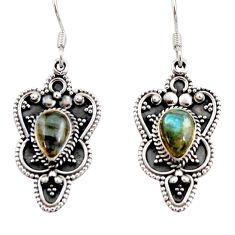 Clearance Sale- 4.82cts natural blue labradorite 925 sterling silver dangle earrings d39700