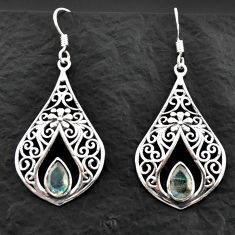 Clearance Sale- 4.92cts natural blue labradorite 925 sterling silver dangle earrings d40609