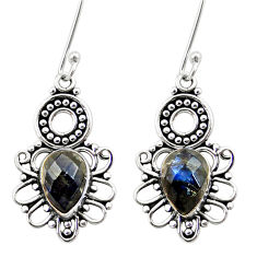 Clearance Sale- 6.33cts natural blue labradorite 925 sterling silver dangle earrings d41102