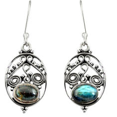Clearance Sale- 4.43cts natural blue labradorite 925 sterling silver dangle earrings d41107