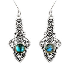 Clearance Sale- 2.44cts natural blue labradorite 925 sterling silver dangle earrings d41111