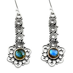 Clearance Sale- 2.01cts natural blue labradorite 925 sterling silver dangle earrings d41112