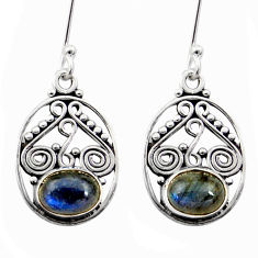Clearance Sale- 4.43cts natural blue labradorite 925 sterling silver dangle earrings d41119