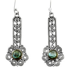 Clearance Sale- 2.85cts natural blue labradorite 925 sterling silver dangle earrings d41133