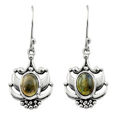 4.20cts natural blue labradorite 925 sterling silver dangle earrings d46835