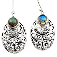 2.47cts natural blue labradorite 925 sterling silver dangle earrings d46894