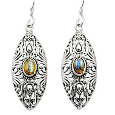 3.53cts natural blue labradorite 925 sterling silver dangle earrings d46907