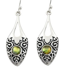 1.88cts natural blue labradorite 925 sterling silver dangle earrings d46926