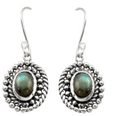 4.38cts natural blue labradorite 925 sterling silver dangle earrings d46928