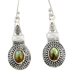 3.33cts natural blue labradorite 925 sterling silver dangle earrings d46954