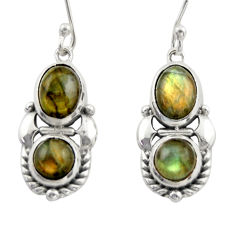 5.98cts natural blue labradorite 925 sterling silver dangle earrings d46994