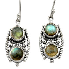 5.42cts natural blue labradorite 925 sterling silver dangle earrings d46996