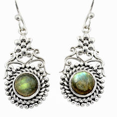 2.59cts natural blue labradorite 925 sterling silver dangle earrings d47020