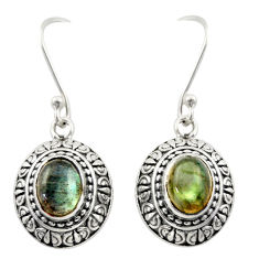 4.38cts natural blue labradorite 925 sterling silver dangle earrings d47033