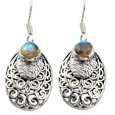 2.28cts natural blue labradorite 925 sterling silver dangle earrings d47057