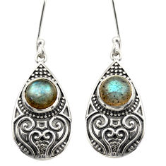 3.96cts natural blue labradorite 925 sterling silver dangle earrings d47077