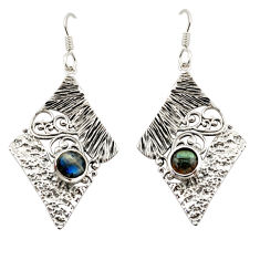 2.18cts natural blue labradorite 925 sterling silver dangle earrings d47179