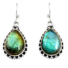 11.46cts natural blue labradorite 925 sterling silver dangle earrings r19688