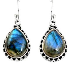 11.89cts natural blue labradorite 925 sterling silver dangle earrings r19689