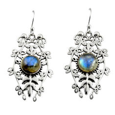 5.98cts natural blue labradorite 925 sterling silver dangle earrings r19741