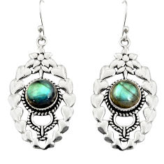 5.81cts natural blue labradorite 925 sterling silver dangle earrings r19742