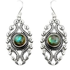 5.62cts natural blue labradorite 925 sterling silver dangle earrings r19743