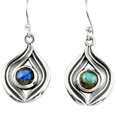 2.20cts natural blue labradorite 925 sterling silver dangle earrings r19803