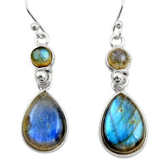 12.94cts natural blue labradorite 925 sterling silver dangle earrings r21562