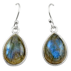 9.74cts natural blue labradorite 925 sterling silver dangle earrings r21563