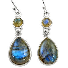 12.54cts natural blue labradorite 925 sterling silver dangle earrings r21566
