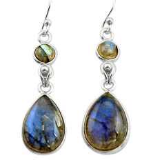 12.54cts natural blue labradorite 925 sterling silver dangle earrings r21570