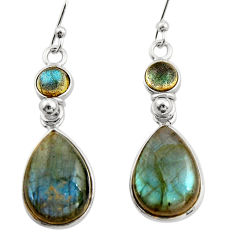 12.94cts natural blue labradorite 925 sterling silver dangle earrings r21576