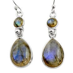 11.93cts natural blue labradorite 925 sterling silver dangle earrings r21580