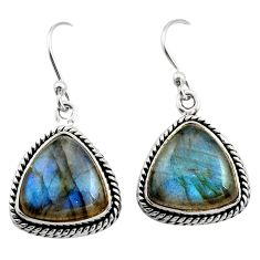 12.04cts natural blue labradorite 925 sterling silver dangle earrings r21588