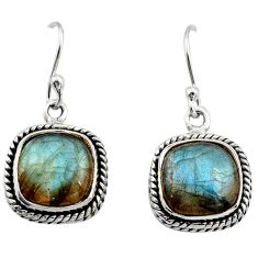 9.86cts natural blue labradorite 925 sterling silver dangle earrings r21591