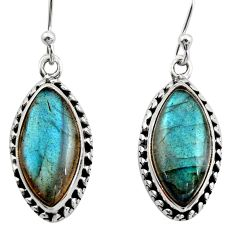 14.57cts natural blue labradorite 925 sterling silver dangle earrings r21597