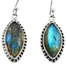 14.18cts natural blue labradorite 925 sterling silver dangle earrings r21598