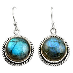 11.21cts natural blue labradorite 925 sterling silver dangle earrings r21620