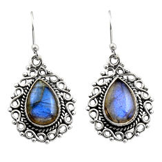 7.89cts natural blue labradorite 925 sterling silver dangle earrings r21711