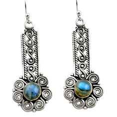 2.47cts natural blue labradorite 925 sterling silver dangle earrings r21718