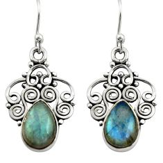 4.28cts natural blue labradorite 925 sterling silver dangle earrings r21727
