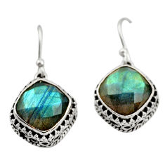 11.21cts natural blue labradorite 925 sterling silver dangle earrings r21881