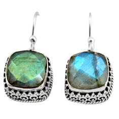 9.92cts natural blue labradorite 925 sterling silver dangle earrings r21898