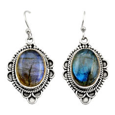 11.95cts natural blue labradorite 925 sterling silver dangle earrings r21993